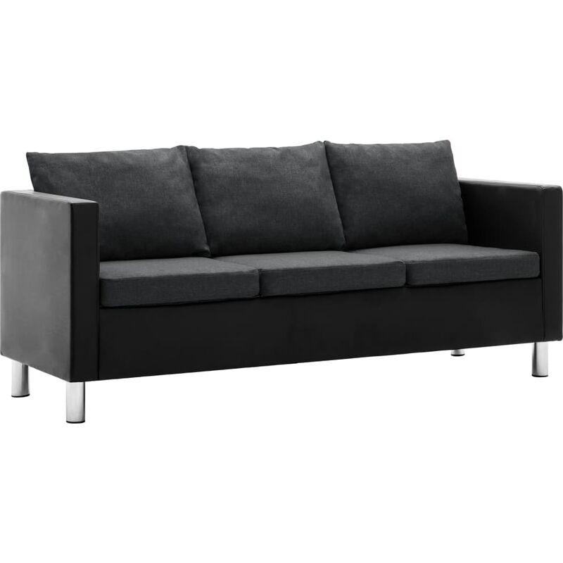 3-Sitzer-Sofa Kunstleder Schwarz Dunkelgrau - VIDAXL