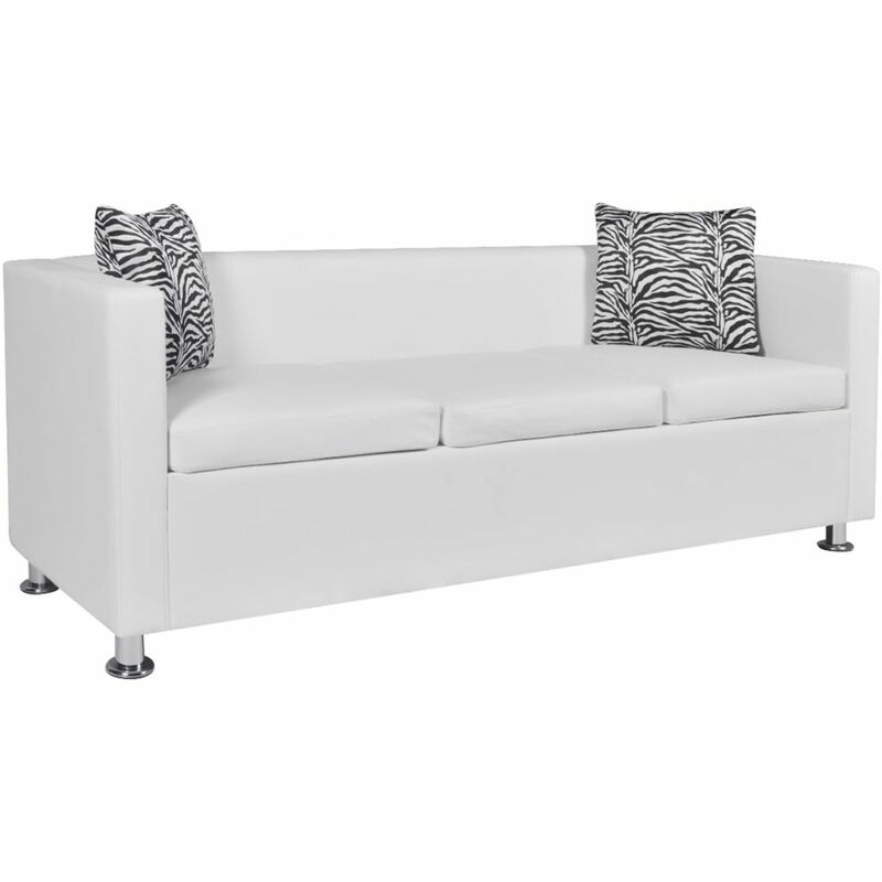 3-Sitzer-Sofa Kunstleder Weiß - ZQYRLAR
