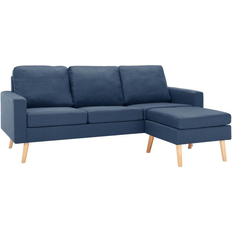 3-Sitzer-Sofa mit Hocker Blau Stoff - VIDAXL