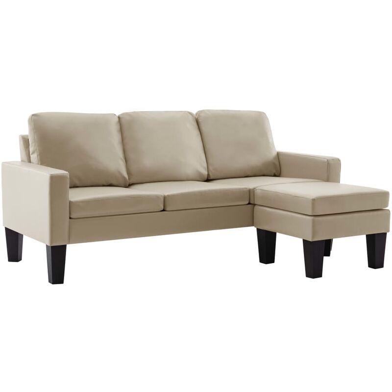 3-Sitzer-Sofa mit Hocker Cappuccino-Braun Kunstleder - VIDAXL