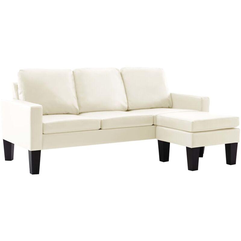 3-Sitzer-Sofa mit Hocker Creme Kunstleder - VIDAXL