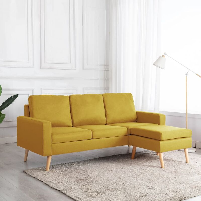 3-Sitzer-Sofa mit Hocker Gelb Stoff - VIDAXL