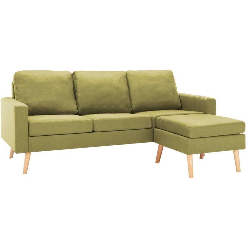 3-Sitzer-Sofa mit Hocker Grün Stoff - VIDAXL