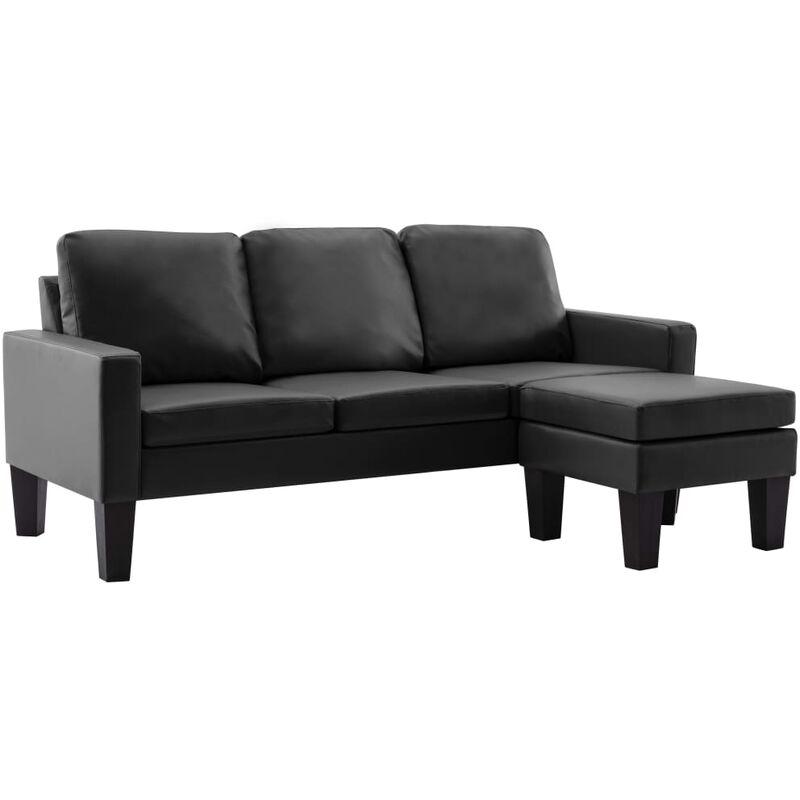 3-Sitzer-Sofa mit Hocker Schwarz Kunstleder - VIDAXL