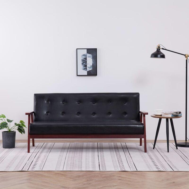 3-Sitzer-Sofa Schwarz Kunstleder - ZQYRLAR