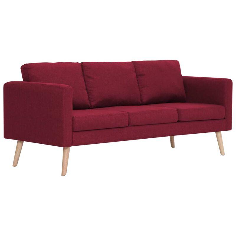 3-Sitzer-Sofa Stoff Weinrot - VIDAXL