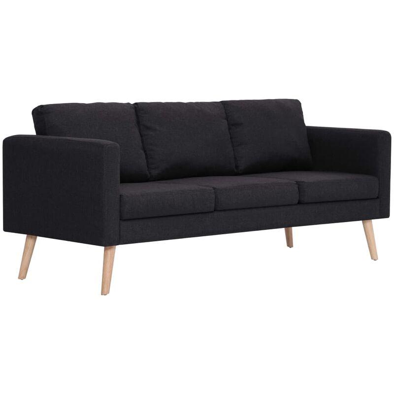 3-Sitzer-Sofa Stoff Schwarz