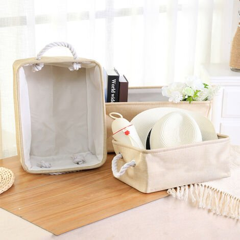 3 Sizes of Beige Cotton linen Storage Basket With Handles,32*22*15CM