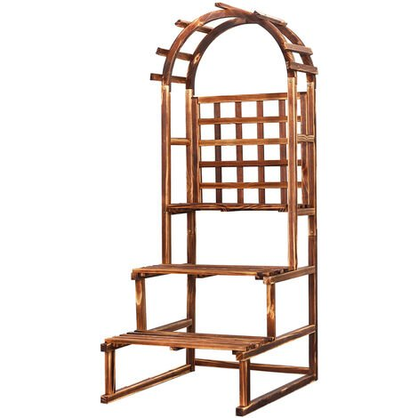 3 Steps Stairway Plant Stand Wooden Ladder Shelf Flowers Vegs Platform With Dome