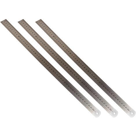 3 Stk Stahllineal 50cm Stahlmaßstab Metalllineal Lineal Werkstattlineal Maßstab