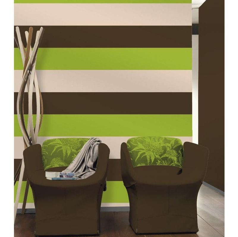 Image of 3 Stripe Colour Pattern Textured Brown Green Cream Wallpaper - Direct Wallpapers