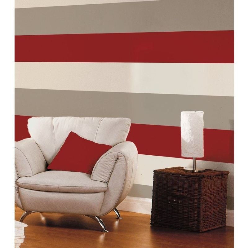 Image of 3 Stripe Colour Pattern Textured Red Cream Silver Wallpaper - Direct Wallpapers