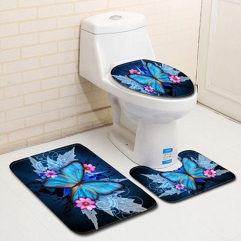 3 Stück Flanell & Waschbarer Gummi Butterfly Style Badematte Rutschfeste Duschboden Toilettenmatte Rutschfeste Matte für Bad / WC