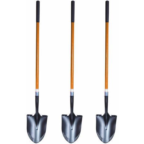 3 Stück FRONTTOOL Spatenschaufel 2in1 SET - Amerikanische Form Schaufel und Spaten in einem, die perfekte Kombination von 2 Werkzeugen Fronttool - 17461
