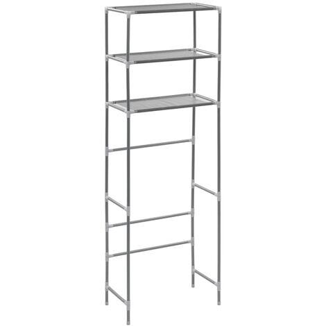 3-stufiges Toiletten-Regal Silbern 53×28×169 cm
