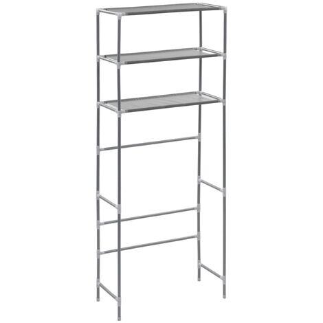 3-stufiges Waschmaschinen-Regal Silbern 69×28×169 cm