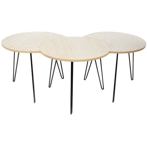 3 Tables Scandinaves - Diam. 45 cm - Beige et blanc - Beige