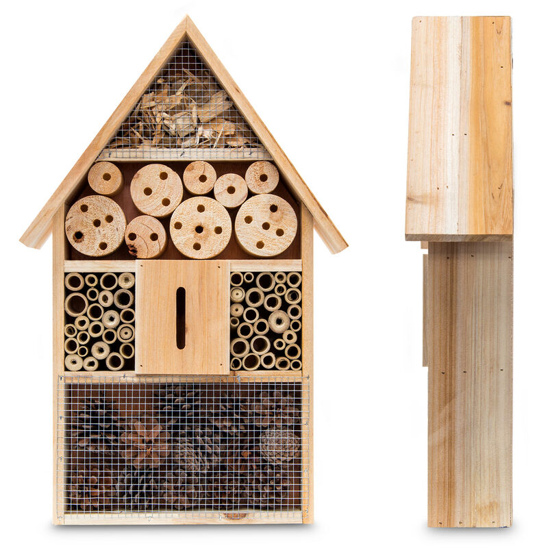 3 Teilige Insekten City Insektenhotel Zum Aufhängen Bienenhotel Mit Schmetterlingshaus Geflämmtes Holz Natur