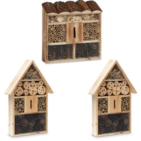 3 teilige Insekten City, Insektenhotel Zum Aufhängen, Bienenhotel, Mit Schmetterlingshaus, Geflämmtes Holz, natur