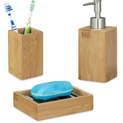 3 teiliges Badaccessoire Set, aus Bambus, Seifenspender nachfüllbar, Seifenschale Seifenablage, Zahnputzbecher, natur