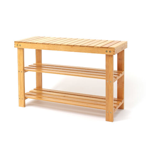 3 Tier Bamboo Shelving Unit, Bamboo Shoe Organizer, 70 x 45 x 28 cm (27.6 x 17.7 x 11 inch), Material: Bamboo