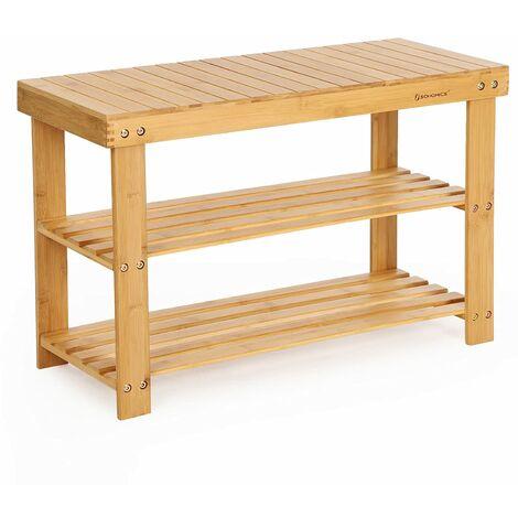 3-Tier Bamboo Shoe Bench, Shoe Rack Storage Organizer, 70 x 28 x 45cm, ideal for Hallway, Bathroom, Living Room and Corridor