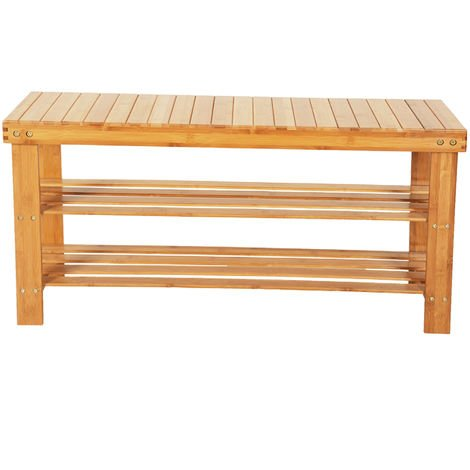3-Tier Bamboo Shoe Bench Shoe Rack Storage Organizer