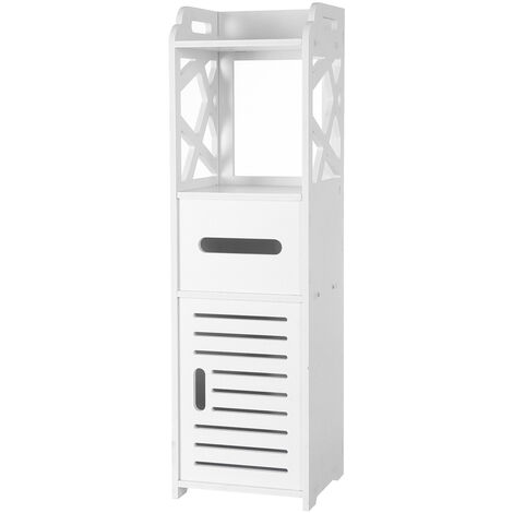 3-tier Bathroom Storage Cabinet with 2 Doors 23*23*80CM White