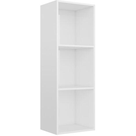 3-Tier Book Cabinet High Gloss White 40x30x114 cm Chipboard