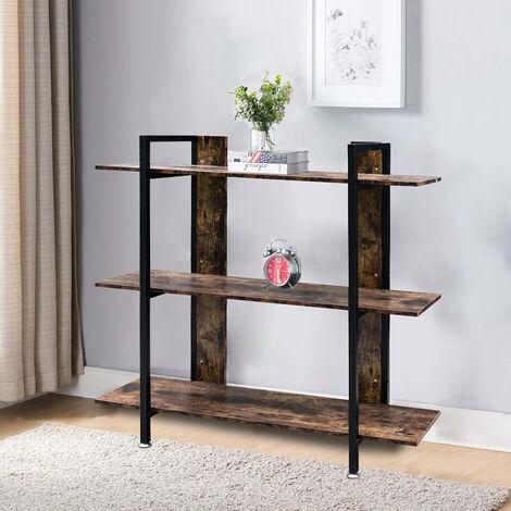 3 Tier Bookcase Shelving Unit Industrial Rustic Wood Metal Storage Shelf