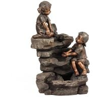 3 Tier Boy & Girl Rock Garden Water Fountain