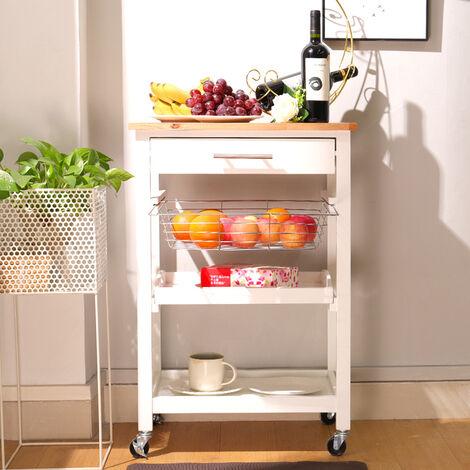 3 Tier Cart Basket Tray Drawer Kitchen Trolley