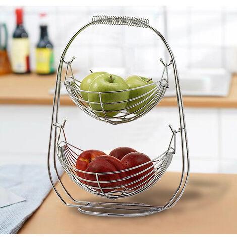 3 Tier Chrome Swinging Fruit Vegetables Bowl Baskets Rack Storage Stand Holder