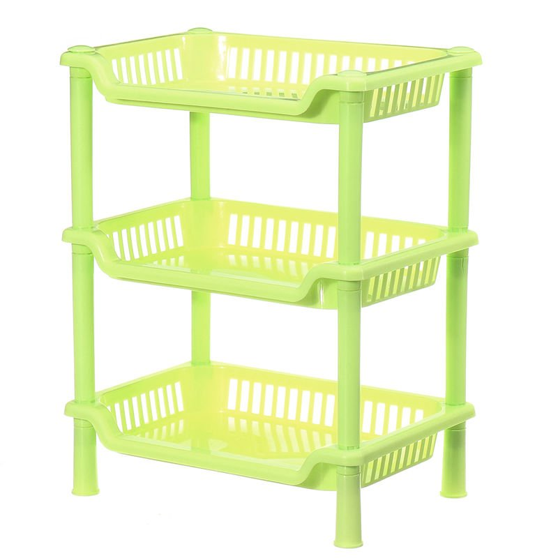 Image of 3 Tier Corner Organizer Storage Rack Holder, Green