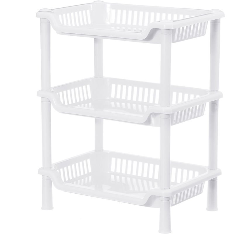 Image of 3 Tier Corner Organizer Storage Rack Holder, White