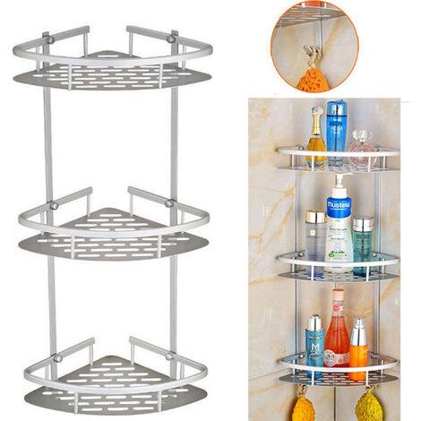 3 Tier Corner Shelf Wall Storage Shower Rack Shampoo Holder Bathroom Organizer