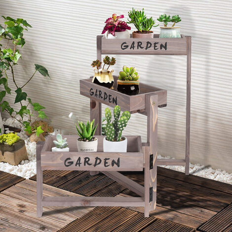 3 Tier Flower Plant Pot Stand Folding Display Shelf Pull Out Vintage Storage Rack