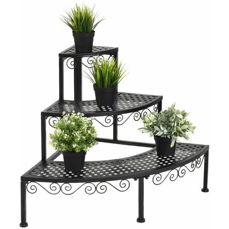 3-Tier Flower Plant Stand Pot Holder Corner Metal Ladder Home Garden Decoration