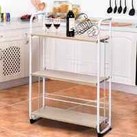 3 Tier Folding Kitchen Serving Utility Trolley Dinning Storage Cart UK