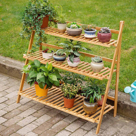 3 Tier Folding Plant Pot Stand Display Step Ladder Shelf