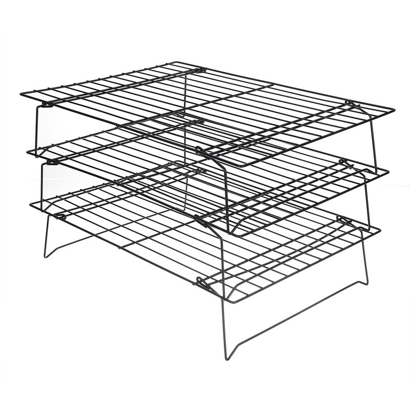 Image of 3-Tier Food Cooling Net Stand Stackable Cooling Rack Kitchen Baking Tools 400x250x230mm Black