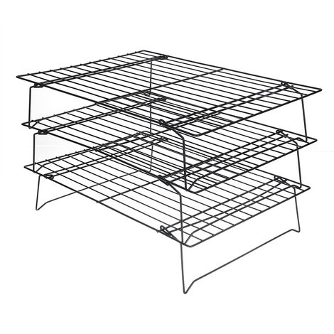 3-Tier Food Cooling Net Stand Stackable Cooling Rack Kitchen Baking Tools 400x250x230mm Black