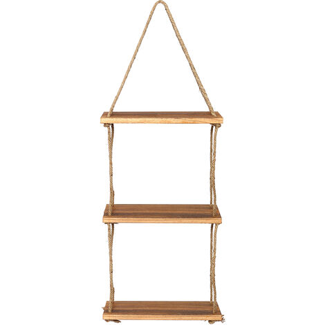 3 Tier Handmade Rustic Wooden Hanging Rope Shelf Solid Floating Shelves Rack 36x15x100cm