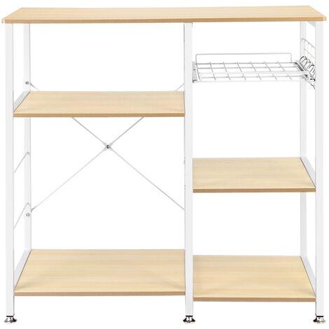 3-Tier Kitchen Baker's Rack Utility Microwave Oven Stand Storage Cart Workstation Shelf White Oak
