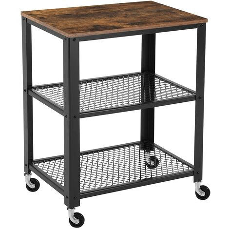 3-Tier Kitchen Cart Trolley, Rustic Rolling Utility Cart, Heavy Duty Storage Organiser, with Wooden Top, Wheels, for Kitchen and Living Room, Vintage, Black LRC78X