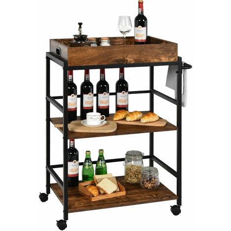 3-Tier Kitchen Serving Cart Industrial Utility Rolling Trolley Storage Shelf Pub