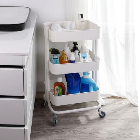 3 Tier Kitchen Storage Trolley Metal Tower Rack Bathroom Shelf