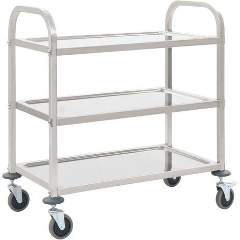 3-Tier Kitchen Trolley 107x55x90 cm Stainless Steel