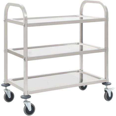 3-Tier Kitchen Trolley 107x55x90 cm Stainless Steel - Silver