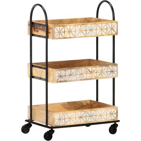 3-Tier Kitchen Trolley 46x30x76 cm Solid Mango Wood - Brown